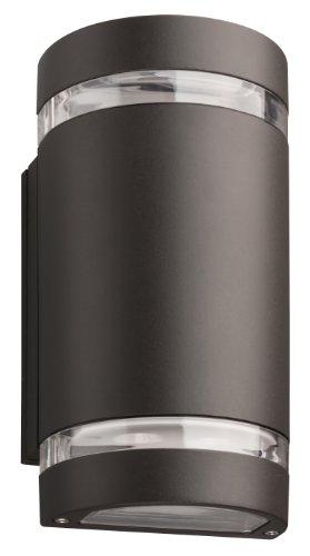 Black Chrome Fluorescent Sconce - Lithonia Lighting OLLWU DDB M6 Outdoor LED Wall Cylinder Light, Black Bronze