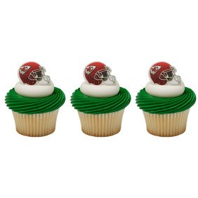24 ~ NFL Kansas City Chiefs Helmet Rings ~ Designer Cake/Cupcake Topper ~ New]()