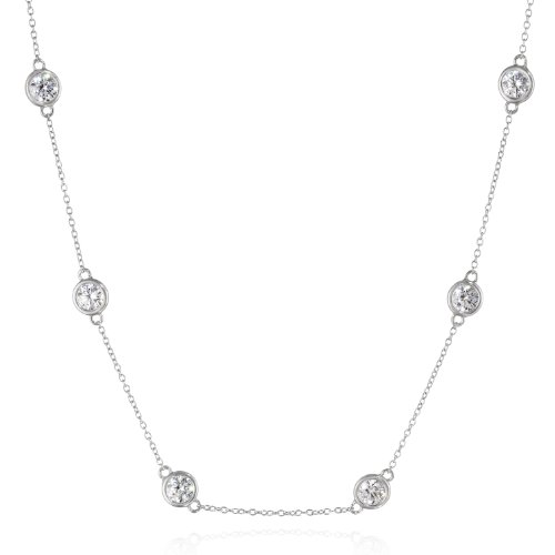 Platinum Plated Sterling Silver Station Necklace set with Swarovski Zirconia (4mm), 18