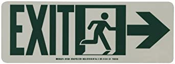 """Brady 81806 14"""" Width x 5"""" Height B-523 High Intensity Self Sticking Polyester, Glow-In-The Dark Safety Guidance Sign, Legend """"Exit"""" (with Running Man - Right Arrow)"""