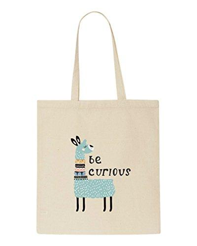 Quotes Shopper Tote Be Bag Curious Llama Three Beige CwqtYz