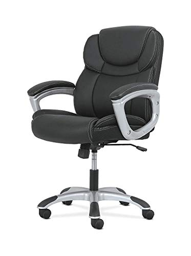 DK Furniture Leather Executive Computer/Office Chair with Arms - Ergonomic Swivel Chair