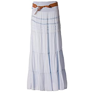 Fashion You Want Women's Summer Skirt Size 34/36 to Size 50/52 Available Long Maxi Skirt Beach Skirt Summer Skirt Long Belt Amber Boho Retro Maxi Skirt