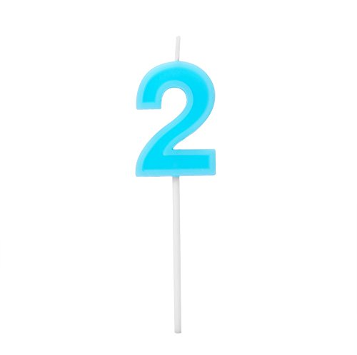 Willcan Number 2 blue extra length happy birthday colorful numeral candles, classic number candles with plastic stem for party celebration decorating cake topper (Blue) -
