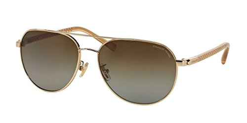 Coach Womens L137 Sunglasses (HC7053) Gold/Brown Metal - Polarized - - Spectacle Frames Coach