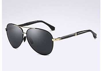 TL-Sunglasses Hombres Gafas polarizadas Unisex Metal Estilo HD Gafas Lentes de Alta Calidad,