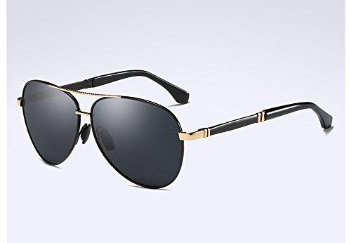 gold Sunglasses Unisexe de gray TL HD Hommes Lunettes Polarisées qualité Soleil Lentilles Metal Lunettes Style Haute black UxRqZwR