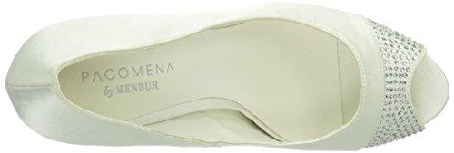 Paco Mena Marisa - Zapatos de vestir de raso para mujer marfil - Elfenbein (Ivory 04)