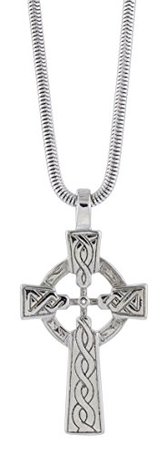 Snake Silver Cross (Quantum Celtic High Cross Necklace on 18