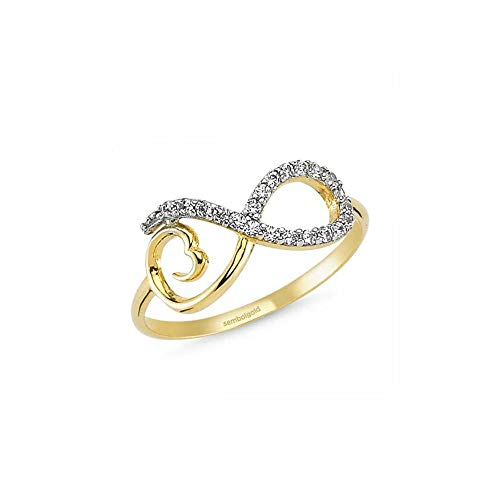 Anelise Fine Gold Ring For Women - Infinity Forever 14K Solid Yellow Gold Rings For Women 1,2 gr Dainty Ring
