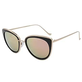 VIVIENFANG Women's Full Metal Revo Mirror Lens Cat Eye Sunglasses Polarized 86832A Black