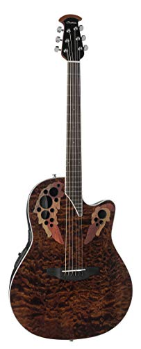 Ovation Celebrity Elite Plus Quilted Maple Top Acoustic-Electric Guitar, Tiger Eye ()