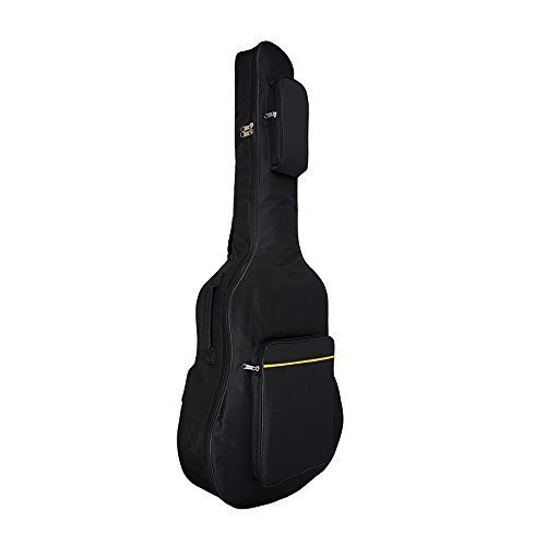 Vangoa - Black Oxford Fabric 41 Inch Dual Adjustable Shoulder Strap Acoustic Guitar Gig Bag Backpack with Pockets