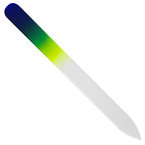 File Nail Cobalt - Bona Fide Beauty Czech Crystal Glass Nail File - Nail Care for Women & Men - Cobalt/Yellow Color - 1-Piece Medium Glass Manicure File in Plastic Sleeve