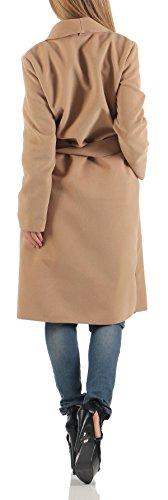 Malito Size Corte De One Cárdigan Mujer 3050 Abrigo Capote Larga Cascada Camel rqvwxS7rZ