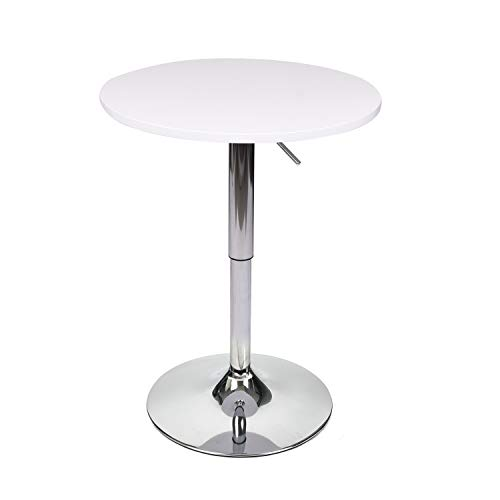 - 35 Inches Height Round Bar Table Adjustable Height Chrome Metal and Wood Cocktail Pub Table MDF Top 360°Swivel Furniture (White 1)