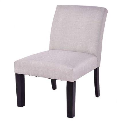 Amazon.com : Beige Slipper Chair Cushion Seat Linen Fabric ...
