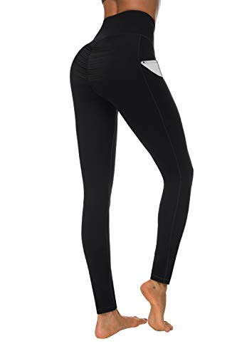 Fengbay Scrunch Butt Leggings with Pockets, High Waist Yoga Pants Booty Ruched Tummy Control Stretch Yoga Leggings (Medium, N629 Black)