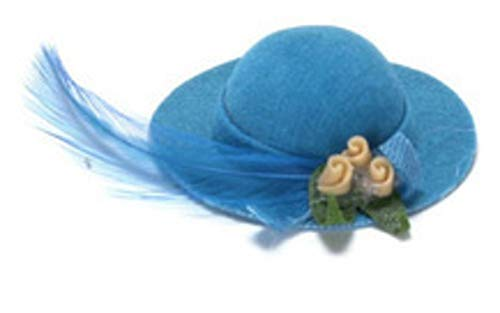 Melody Jane Dolls Houses House Miniature Millinery Shop Bedroom Accessory Turquoise Lady's Hat