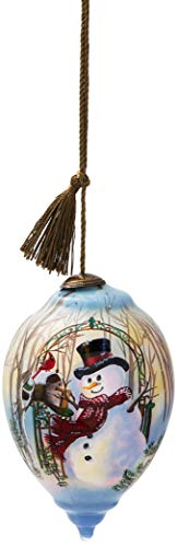 (Ne'Qwa Art Hand Painted Blown Glass Christmas Greetings Snowman Ornament,)