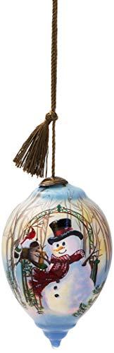 Ne'Qwa Art Hand Painted Blown Glass Christmas Greetings Snowman - Painted Hand Ornaments Snowman