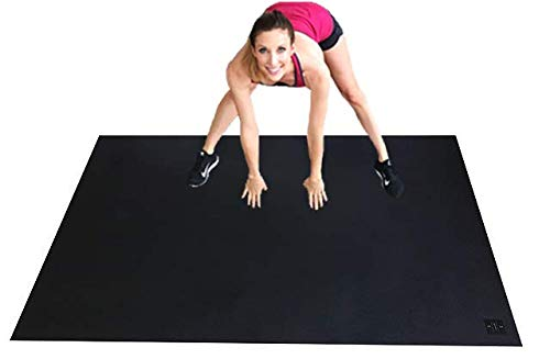 Square36 Large Exercise Mat 6.5 Ft x 4 Ft. Ideal for Home Cardio Workouts with Or Without Shoes. Roll Out in Living Room & Roll Up to Store Large Fitness Mat.