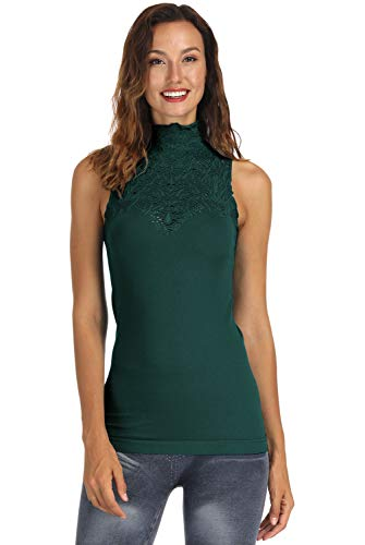 Green Turtleneck Top - DISBEST Women Turtle Neck Sleeveless Tops Mock Turtleneck Vest Polo Neck T Shirt (Forest Green, Large)