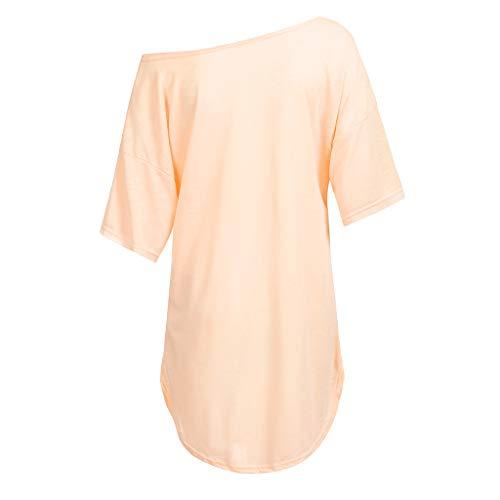 vestiti Corta Di Solido Donna Vestiti Manica Estivi Sciolto Colore Girocollo Maglietta Longra T Taglie Rosa Corti Forti Mini shirt Estate Casual Abito Lunga Da 0wvmNO8n