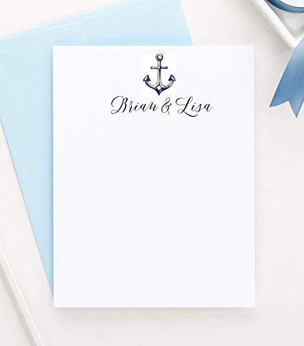(Personalized Anchor Stationary, Nautical Stationery, Couples Stationary, Your Choice of Colors, Wedding Thank You Cards, Nautical Note cards, Your Choice Of Color and Quantity)