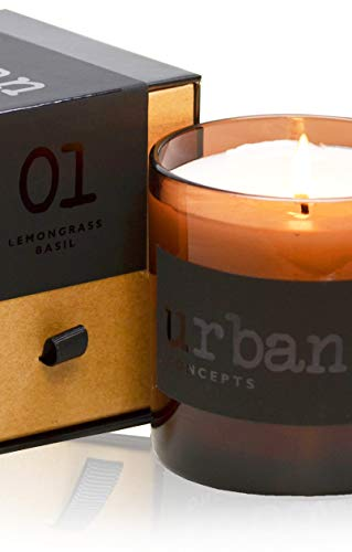 Urban Concepts by DECOCANDLES | Tranquility - Lemongrass & Wild Basil - Highly Scented Soy Candle - Long Lasting - Hand Poured in USA - Signature Scent for The Amanyara Resort Turks & Caicos - 9 Oz ()
