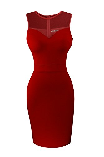 Heloise Women's Sleeveless Bodycon Little Red Cocktail Party Dress With See Through Top (M, Red)