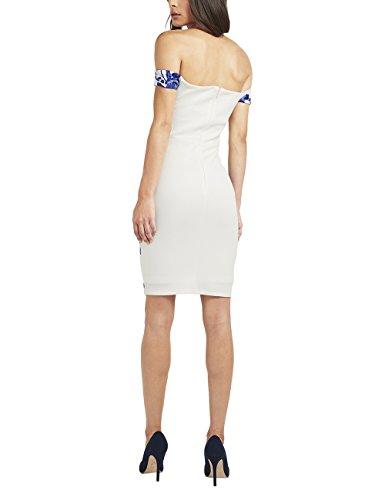 Lipsy Mujer Vestido Ajustado Con Bordados Y Escote Bardot Blanco