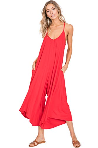 Annabelle Women's Spaghetti Strap Loose Wide Leg Maxi Plus Size Jumpsuit Poppy Red XXX-Large J8030P ()
