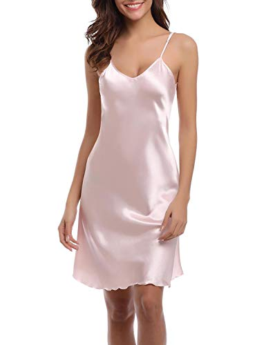 Abollria Womens Sleepwear Nightgown Satin Full Slip Chemise Silk Nightgown Sleepwear,Pink,XXL ()