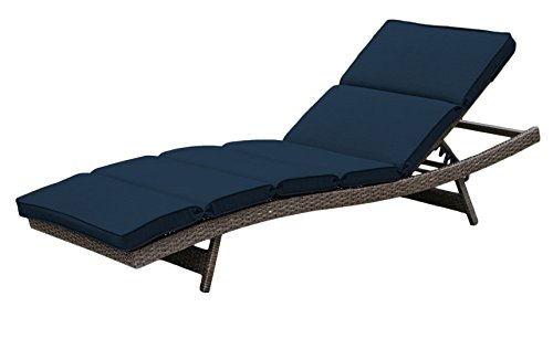 Creative Living 10093547 Bali Single Chaise Lounge, Ribbed Navy Wicker Bali Chaise