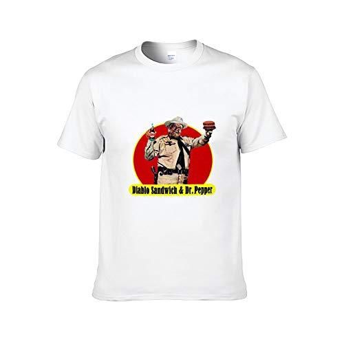 Diablo Sandwich & DR. Pepper Men's Gym Fitness o-Neck Short Sleeve T-Shirt Unisex Cotton (Regular and Big) White (Diablo Sandwich And A Dr Pepper T Shirt)