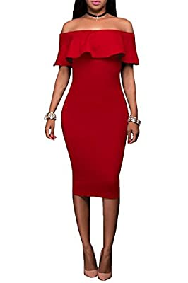 Wonderoy Women's Ruffles Off Shoulder Fitted Club Party Cocktail Bodycon Midi Dress