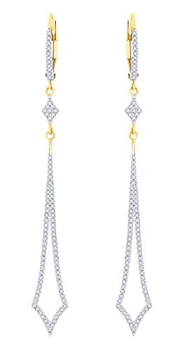 Rount Cut White Natural Diamond Pave Open Arrow-Stiletto Dangle Earring in 14K Yellow Gold (0.40 Ct)