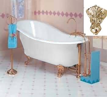 Amazoncom White Cast Iron Clawfoot Slipper Tub Gold Iron Eagle