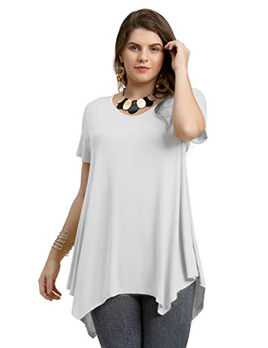 LARACE Women Casual T Shirt V-Neck Tunic Tops for Leggings(3X, White)
