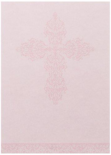 Mara-Mi Pink Ornate Cross Imprintable Invitation, 10-Count