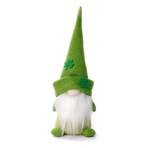 - ITOMTE St. Patricks' Day Gnome - Handmade Swedish Irish Tomte, Lucky Shamrock Yule Nisse Ornament, Nordic Elf Figurine Spring Decoration - Father's Day Presents - 16 Inches, Green