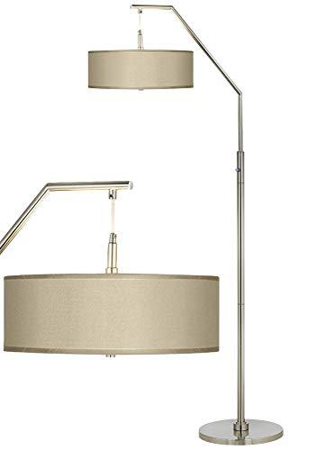 Modern Arc Floor Lamp Brushed Nickel Sesame Beige Faux Silk Drum Shade for Living Room Reading Bedroom - Possini Euro -