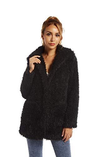 Elegant Faux Fur Coat Women 2019 Autumn Winter Warm Open Front Jacket Cardigan Overcoat Casual Outerwear S
