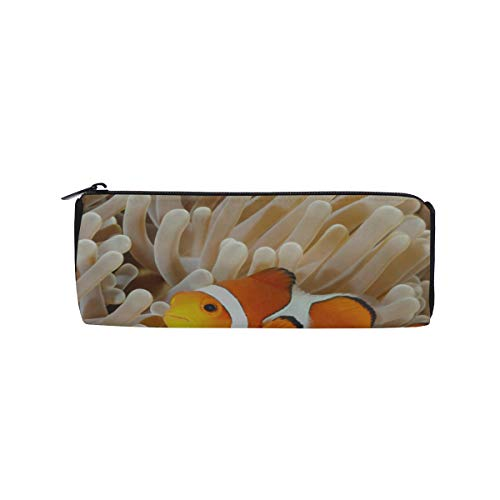 (Clown Fish Anemone and Clown Students Super Large Capacity Barrel Pencil Case Pen Bag Cotton Pouch Holder Makeup Cosmetic Bag for Kids)