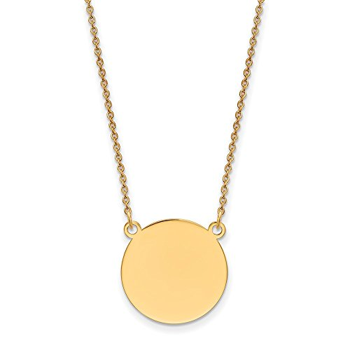 Solid 14k Yellow Gold Plain .018 Gauge Circular Engravable Disc 18 Necklace Chain 18