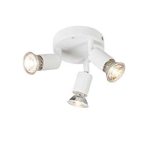 QAZQA – Moderne spot wit kantelbaar rond – Jeany 3 | Woonkamer | Slaapkamer | Keuken – Metaal Rond – GU10 Geschikt voor…