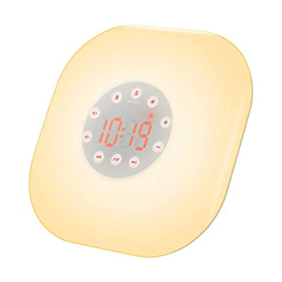 Amir Wake-Up Light, Sunrise Simulation Alarm Clock, 10 Brightness Bedside Lamp, Touch Control Morning Alarm, Natural Night Light with Tag-to-Snooze Function & FM Radio & Natural Sounds