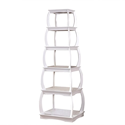 Mixcept 66'' Wooden Multi-functional Display Shelf Bookshelf 5 Tier Bookcases Storage Rack Shelving Unit Collection Shelf, (Space Case Display Case)
