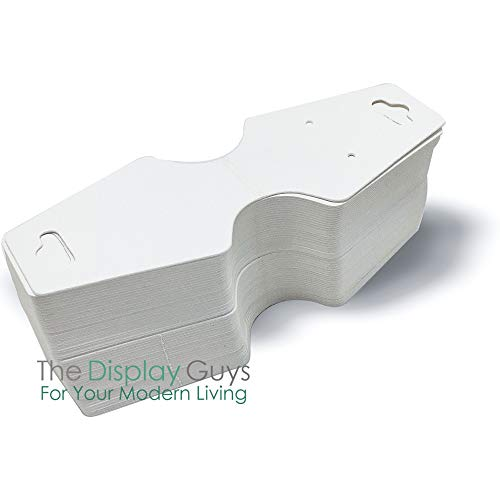 """THE DISPLAY GUYS Pack of 500 pcs 1 7/8"""" X 4 3/4"""" inch(47mm x 123mm) White Fold Over Paper Necklace Earrings Display Hanging Cards Jewelry Accessory Display"""